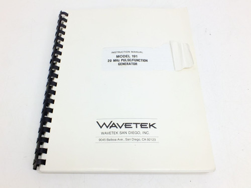 Wavetek 191  Instruction Manual