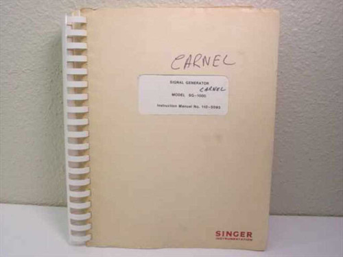 Singer Instrumentation Signal Generator SG1000 Instruction Manuall 110-5093