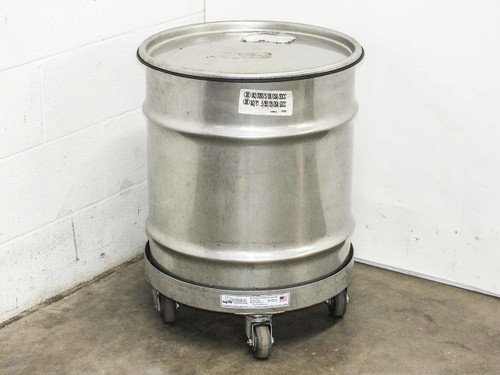 Mid-States 30 Gallon  Stainless Steel Hazardous Waste Drum Container w/ Dolly