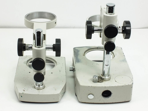 Lot of 2  Microscope Focus Blocks with Illumination Port Stands -AS IS-