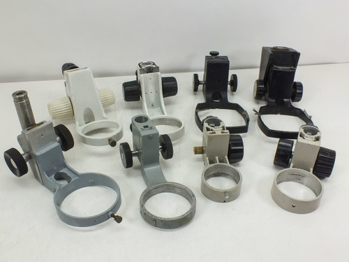 Lot of  8  Assorted Microscope Focus Blocks 62mm-100mm Head Ports -AS IS-