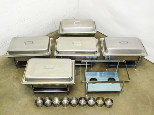 """Crestware CHA1  Lot of 5 Buffet Serving Chafers w Frames & 4"""" Dripless Water Pans"""