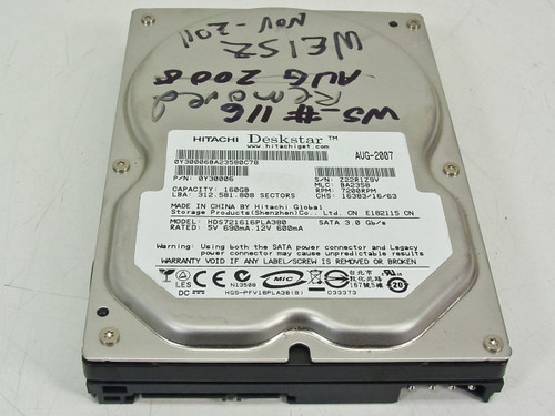 """Hitachi 0Y30006  160.0GB 3.5"""" 7200RPM 8MB Buffer SATA HDD"""