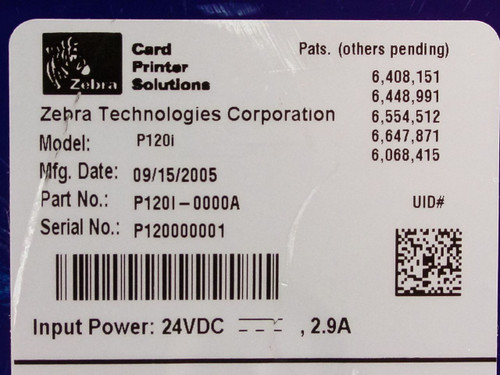 Zebra  P120l-0000A  P120i Color ID Label Printer - As Is For Parts or Repair