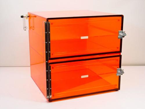 Plexiglass 20x20x18  Nitrogen Dry Box 2 Compartment with Shelves