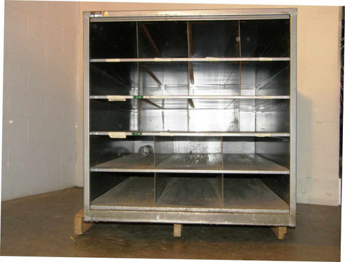 """Cabinet 51""""x 36"""" x 36""""  18-Pocket Steel used for Glass Blowing Lathe Stock"""
