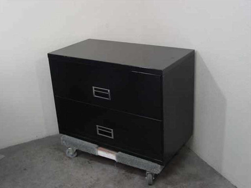 Steel 2 Drawer  Lateral File Cabinet - Black