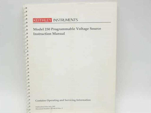 Keithley 230-901-01 Rev. F  Model 230 Programmable Voltage Source Instruction