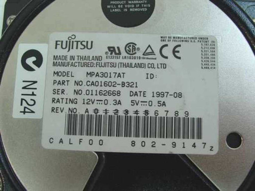 "Fujitsu MPA3017AT  1.7GB 3.5"" IDE Hard Drive"