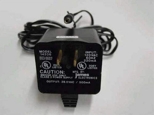 James Electronics 14206  AC Adapter 28.0 VAC 500mA