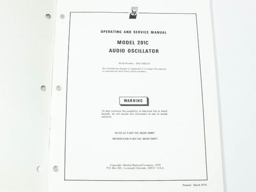 HP 201C Audio Oscillator Operating and Service Manual