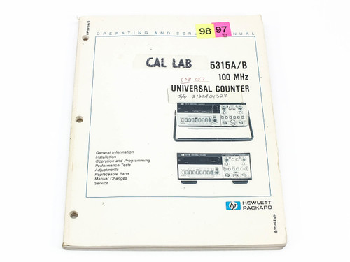 HP 5315A/B  100 MHz Universal Counter Operating and Service Manual