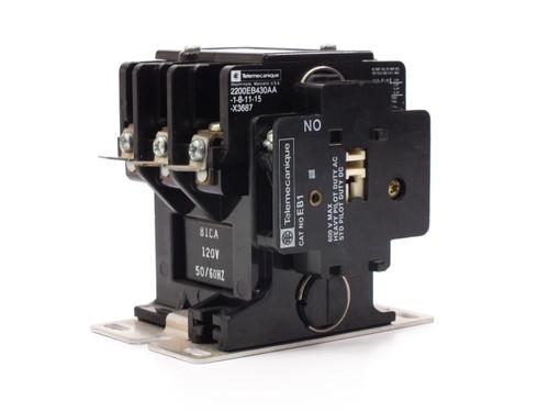 Telemecanique 2200EB430AA-1-8-11-15-X3687  3-Pole Contactor 600V 15HP