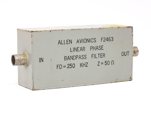Allen Avionics Inc. F2463  Linear Phase Bandbass Filter FO=250 KHz Z=50OHM