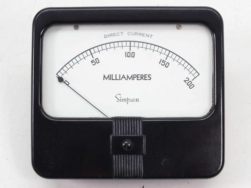 Simpson Model 29 0-to-200 mA DC Milliamperes Meter - Panel Mount