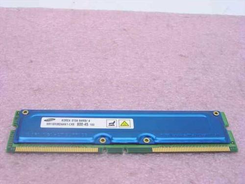 Samsung 64MB Rambus 184-pin PC800-45 NonECC RDRAM RIMM (MR16R0824AN1-CK8)