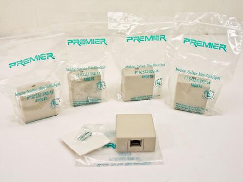 Premier Lot of 5 - RJ-45 8 pin Surface mount mini wall jacks PT-625A2-8SB-44