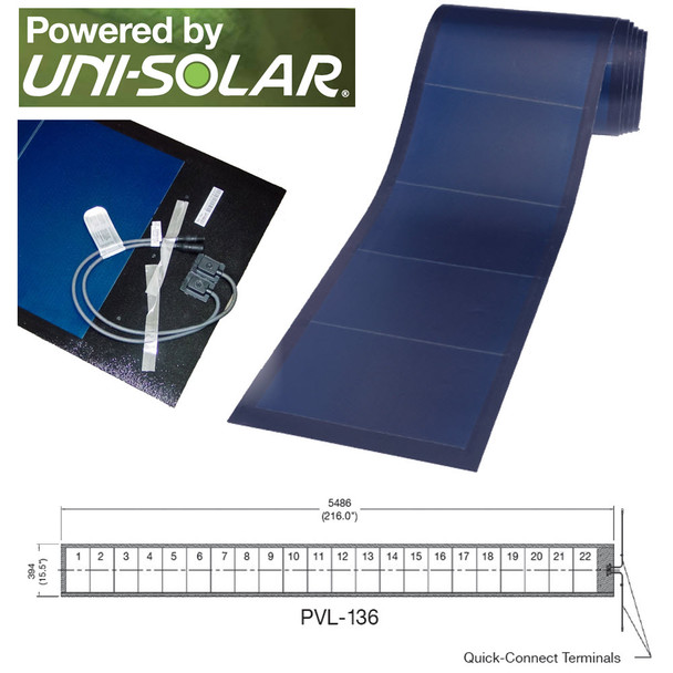 Uni-Solar PVL-136 Power Bond Panels Home Commercial RV Flexible Peel and Stick