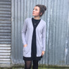 Silver Stream Longline Wool Cardigan with Pockets - Glacier Grey