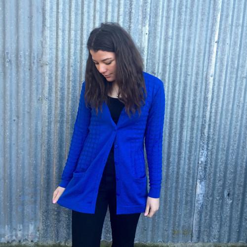 Silver Stream Longline Wool Cardigan with Pockets - Tahiti Blue