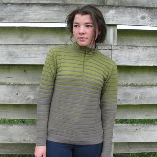 Silver Stream - Merino Half Zip Striped Sweater