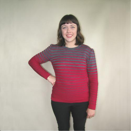 Silver Stream Merino Graduated Stripe Ladies Crew Neck Sweater