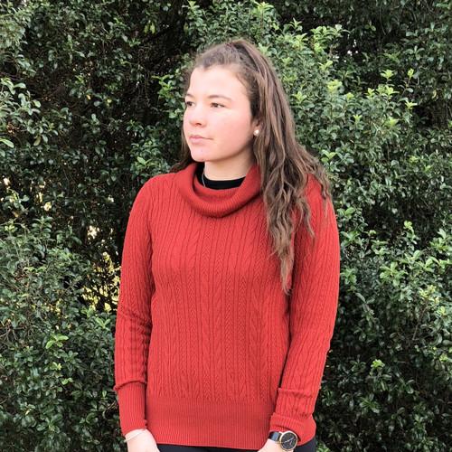 Optimum Merino - Cowl Neck Cable Sweater