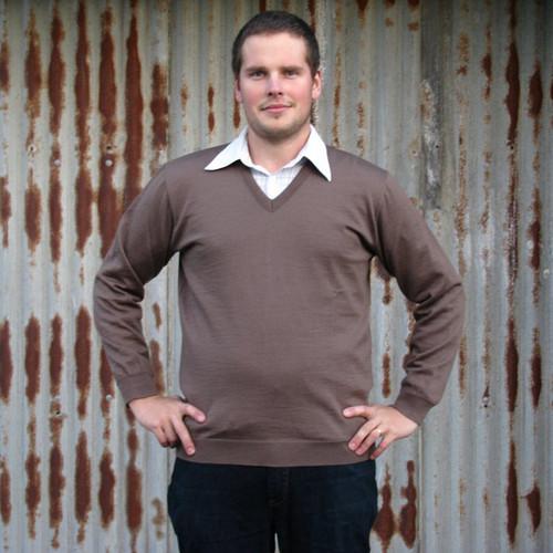 Silver Stream - Merino Wool Vee Sweater