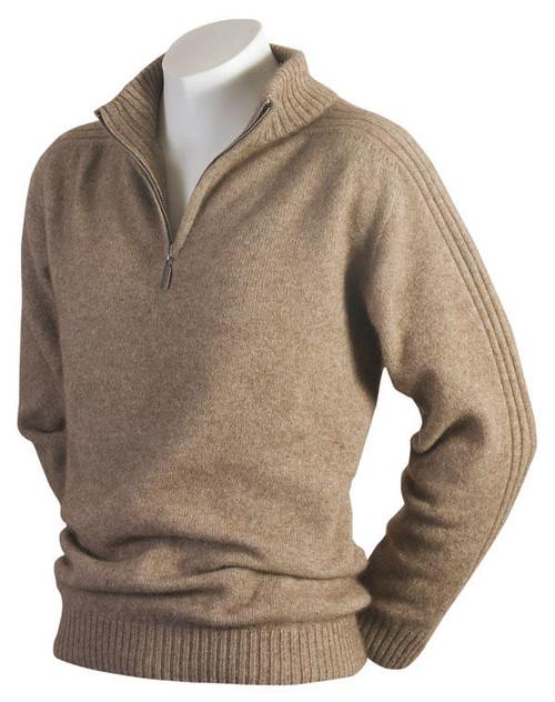 McDonald - Short Zip Merino-Possum Rib Sleeve Sweater