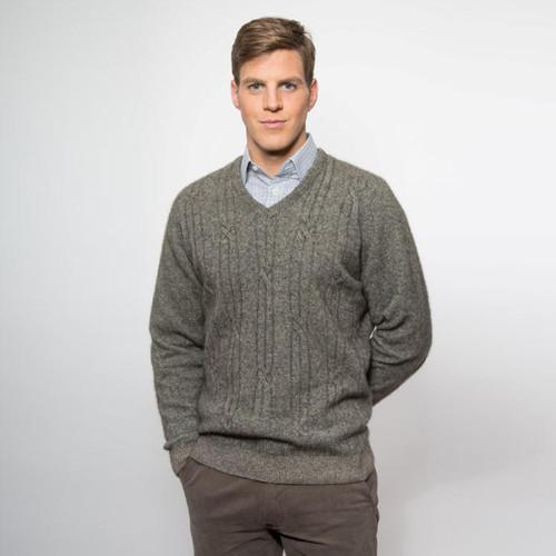 Noble Wilde 'Bowen' Merino - Possum V Neck Cable Sweater