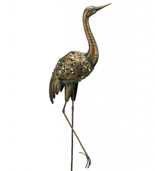 Regal Solar Metal Bird Stake - Crane