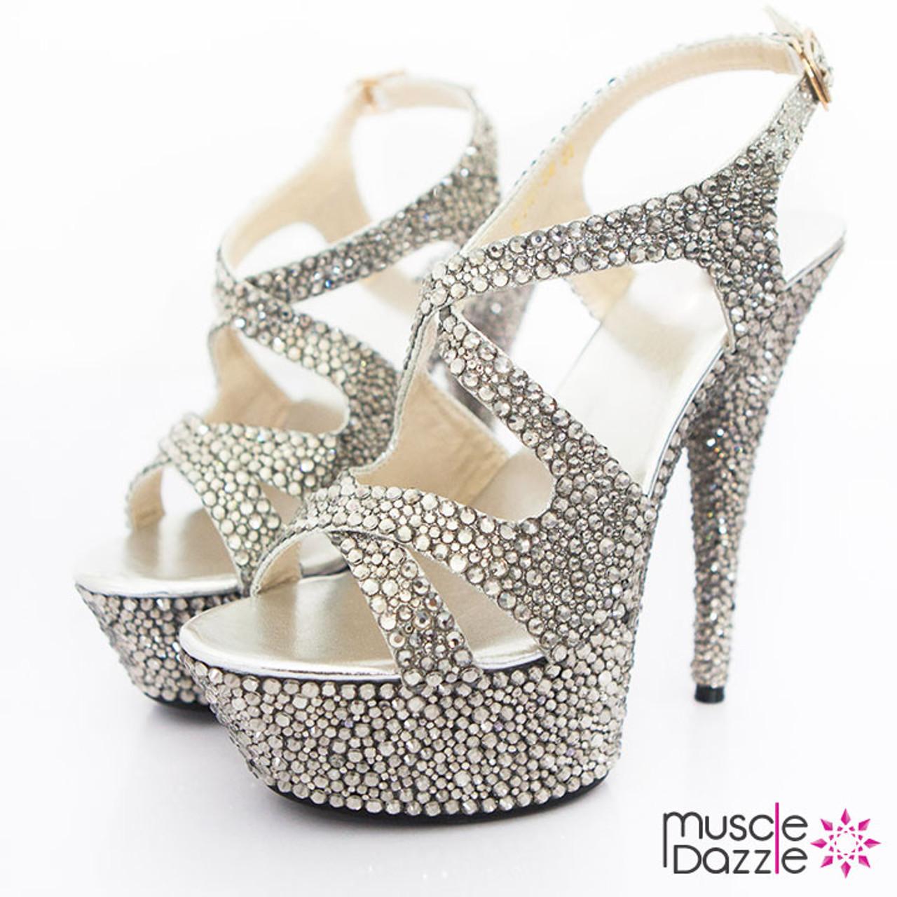 4b83c218501 High Heel Platform Sandals with Black Diamond Crystals (SH024)