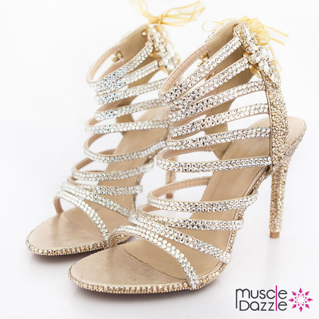 Gold and Silver Crystal High Heel Sandals