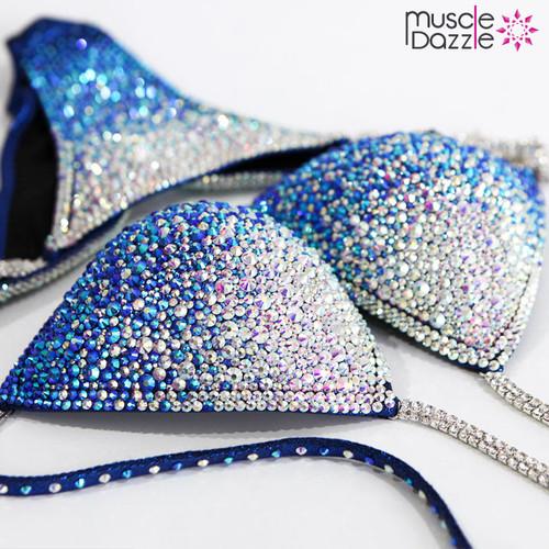 Blue Ombre Crystal Competition Bikini (CB202)