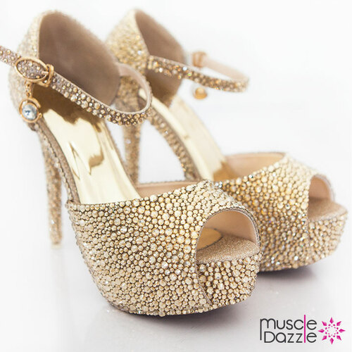 High Heel Platform Peep Toe Pumps With Gold Crystals (SH002)