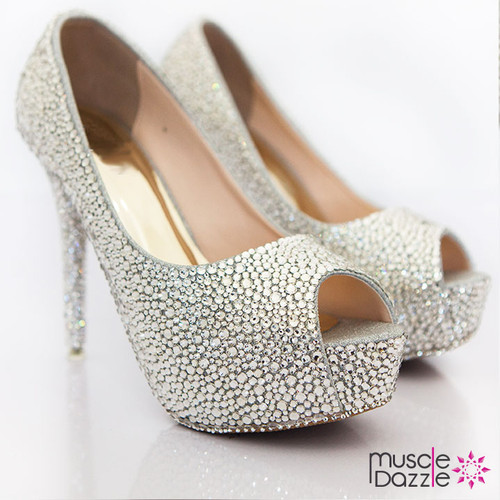 High heel platform peep toe pumps with silver white crystals