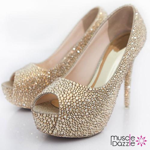 High Heel Platform Peep Toe Pumps With Gold Crystals (SH004)