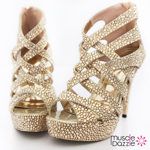 High Heel Platform Sandals with Gold Crystals (SH005)