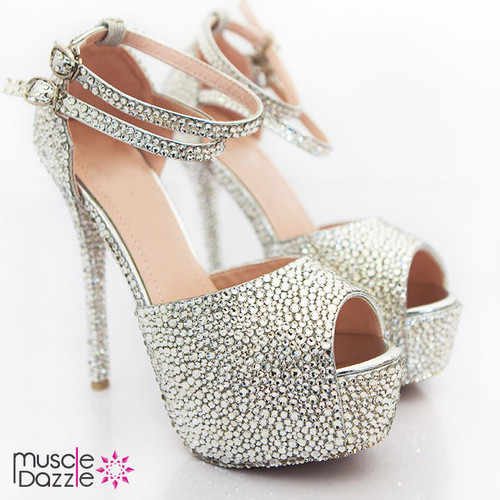 High heel platform open toe court shoes with crystals