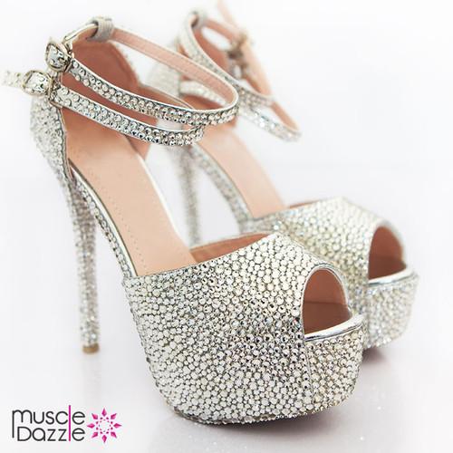 High Heel Platform Peep Toe Pumps With Silver Crystals (SH008)