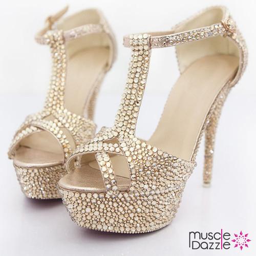 Platform High Heel Sandals with Gold Rhinestone Crystals (SH010)