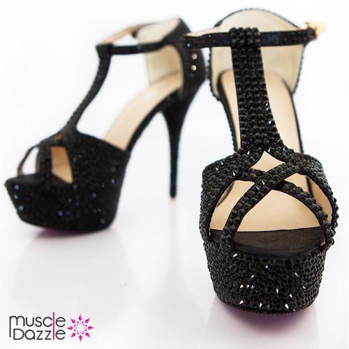 Platform High Heel Sandals with Black Rhinestone Crystals (SH011)