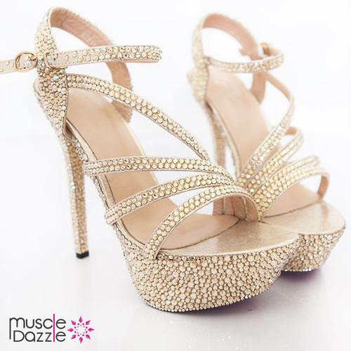 Strappy High Heel Platform Sandals with Gold Rhinestones (SH014)