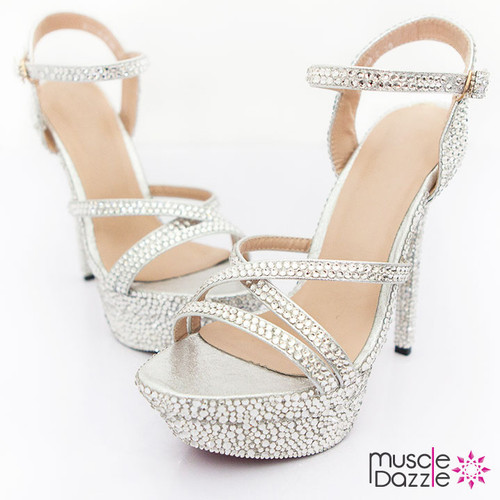 Strappy High Heel Platform Sandals with Silver Crystals (SH016)