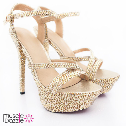 Strappy High Heel Platform Sandals with Gold Crystals (SH017)