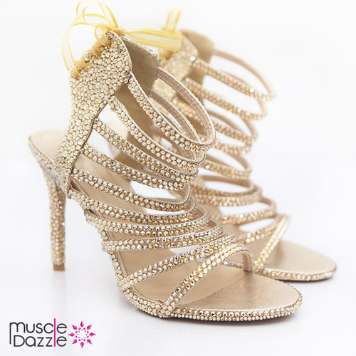Gold Crystal Strappy High Heel Sandals (SH020)