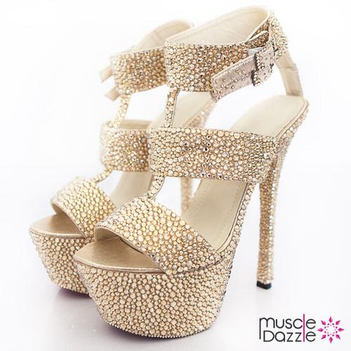 Gold Crystal Thick Strap High Heel Platform Shoes (SH021)