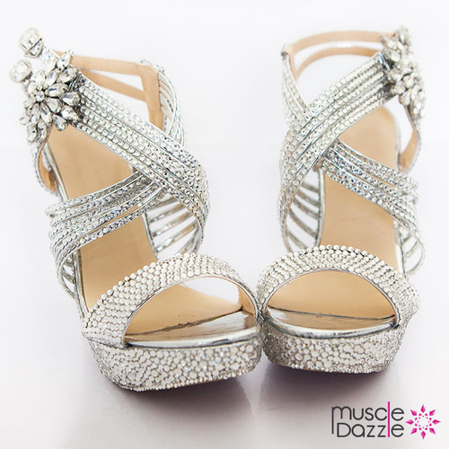 Criss Cross Strappy Platform Heels with Silver Crystals (SH022)