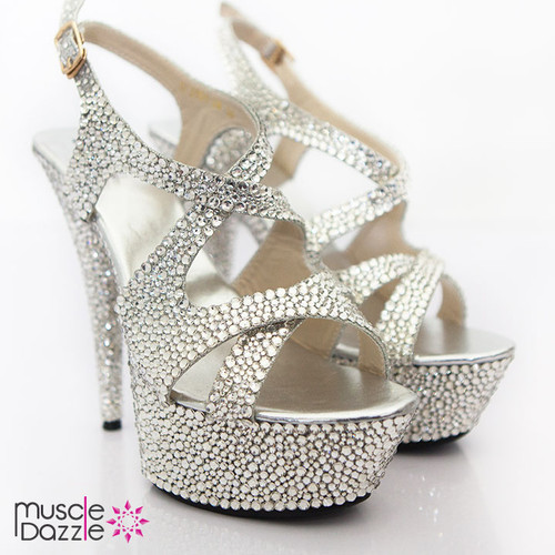 High Heel Platform Sandals with Silver Crystals (SH028)