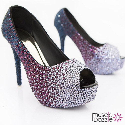 Crystal High Heel Platform Pumps with Ombre Crystalling (SH031)